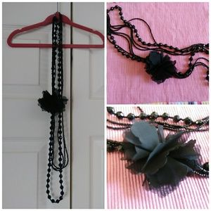 Jewelry - EUC stylish long black bead necklace chiffon rose